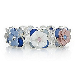 Red Herring - Blue crystal flower statement bracelet