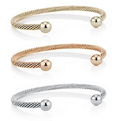 Red Herring - Multi tone twist cuff bangle set
