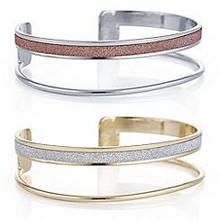 Red Herring - Multi tone open glitter bangle set