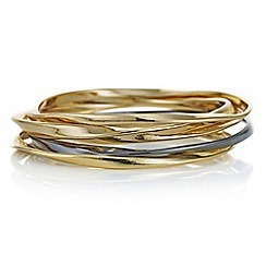 Red Herring - Multi tone gold textured bangle set
