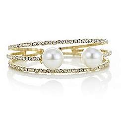 Red Herring - Gold diamante and pearl bracelet