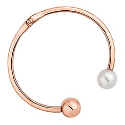 Red Herring - Rose gold pearl open bangle