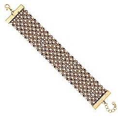 Red Herring - Gold pearl beaded cuff bracelet