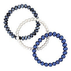 Red Herring - Blue pearl bracelet set