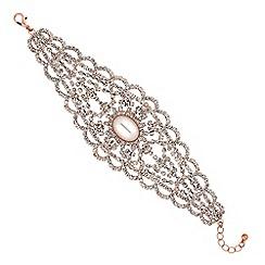 Red Herring - Rose gold crystal filigree bracelet