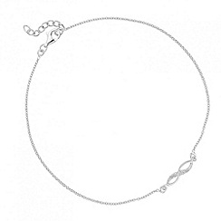Simply Silver - Sterling silver cubic zirconia twist link anklet