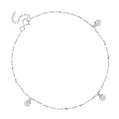 Simply Silver - Sterling silver triple crystal ball anklet