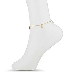Simply Silver - Sterling silver gold triple tone charm drop anklet