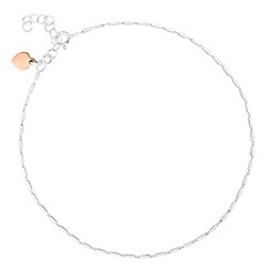 Simply Silver - Rose gold heart charm tube chain anklet
