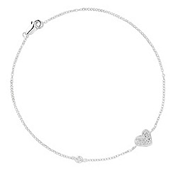 Simply Silver - Sterling silver pave heart charm anklet