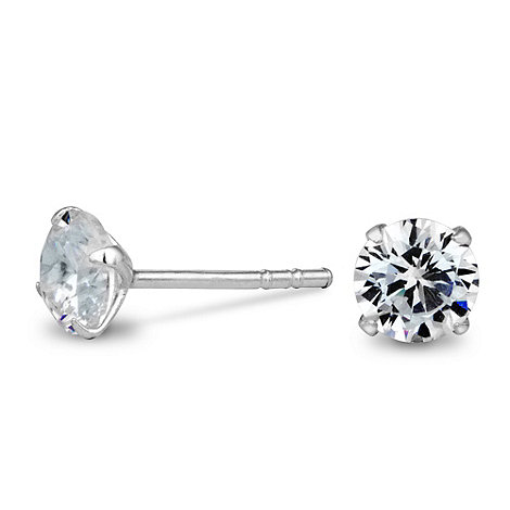 Simply Silver - Sterling silver flat cubic zirconia stud earrings