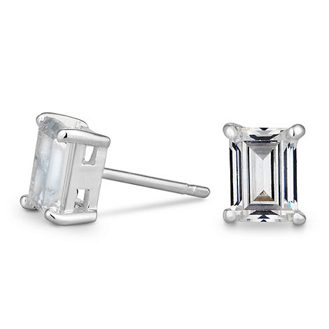 Simply Silver - Sterling silver rectangle cubic zirconia stud earring