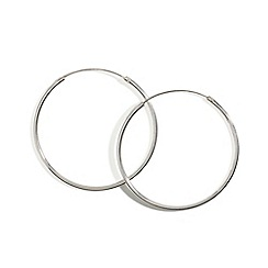Simply Silver - Sterling silver fine large sleeper hoop earring