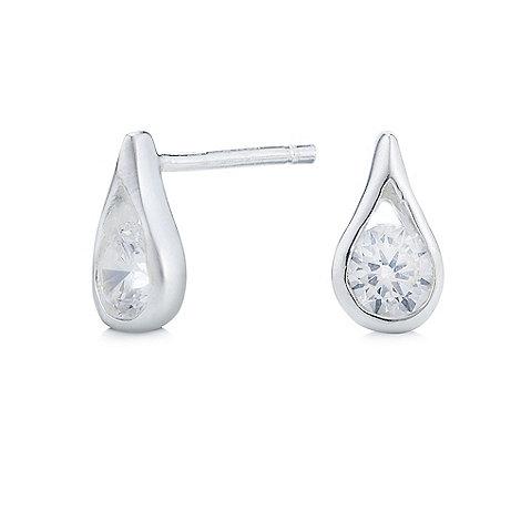 Simply Silver - Sterling silver cubic zirconia teardrop stud earring