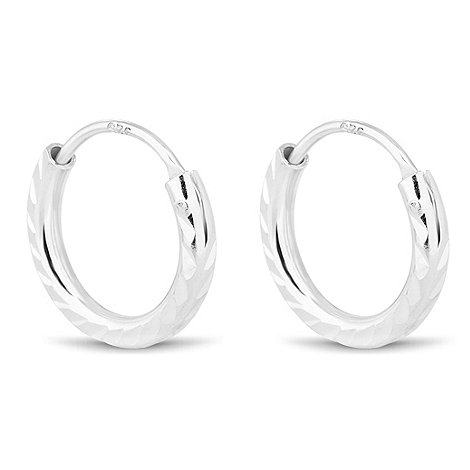 Simply Silver - Sterling silver sparkle hoop earring