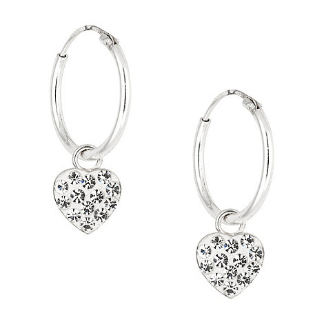 Simply Silver - Sterling silver pave crystal heart hoop earring
