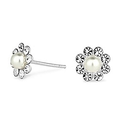 Simply Silver - Sterling silver crystal and pearl floral stud earring