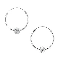 Simply Silver - Sterling silver hoop earring with pave crystal ball
