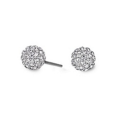 Simply Silver - Sterling silver pave crystal ball stud earring