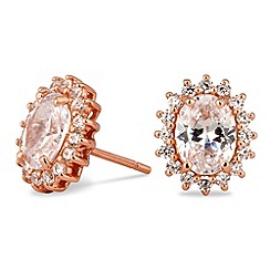Simply Silver - Rose gold plated cubic zirconia kate stud earring