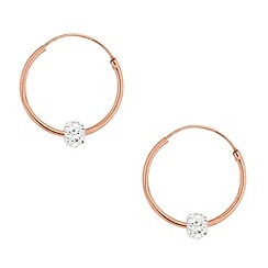 Simply Silver - Rose gold and crystal ball hoop earring