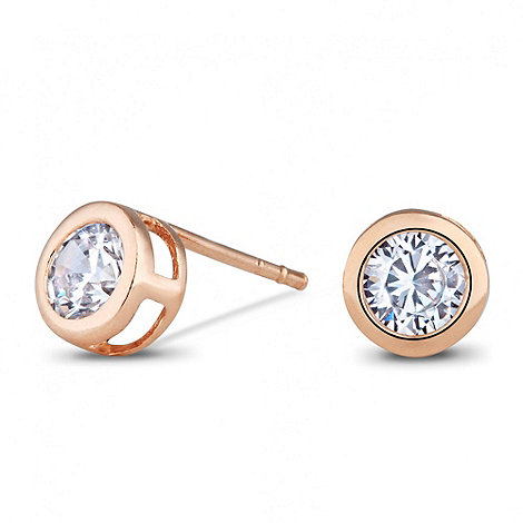 Simply Silver - Sterling silver cubic zirconia rose gold plated stud earring