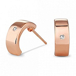 Simply Silver - Sterling silver rose gold plated half hoop earring