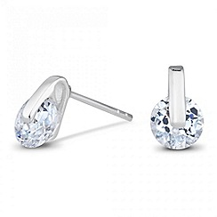 Simply Silver - Sterling silver cubic zirconia tension set earring