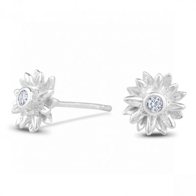 Sterling Silver Cubic Zirconia Sunflower Earring