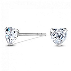 Simply Silver - Sterling silver cubic zirconia mini heart stud earring