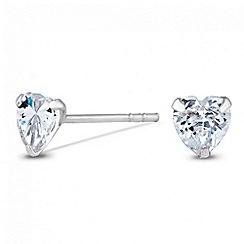Simply Silver - Sterling silver cubic zirconia mini heart stud earring