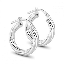 Simply Silver - Sterling silver twisted hoop earring