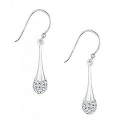 Simply Silver - Sterling silver sleek peardrop pave earrings