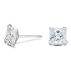 Simply Silver - Sterling silver cubic zirconia square stud earring