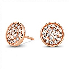 Simply Silver - Sterling silver rose gold plated pave crystal stud earring