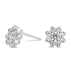 Simply Silver - Sterling silver mini cubic zirconia flower stud earring