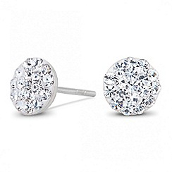 Simply Silver - Sterling silver pave crystal disc earring