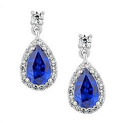 Simply Silver - Sterling silver blue peardrop earring