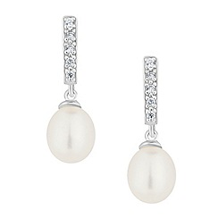 Simply Silver - Sterling silver fancy pearl drop earring