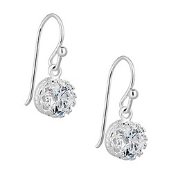 Simply Silver - Sterling silver cubic zirconia solitaire drop earring
