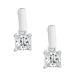 Simply Silver - Sterling silver square cubic zirconia drop earring