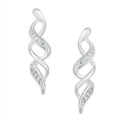 Simply Silver - Sterling silver pave swirl earring