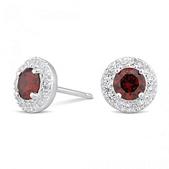 Simply Silver - Sterling silver red cubic zirconia round stud earring