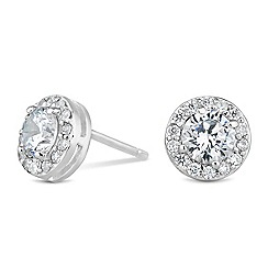 Simply Silver - Sterling silver cubic zirconia halo earring