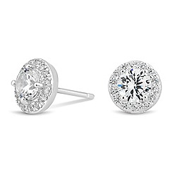 Simply Silver - Sterling silver cubic zirconia halo stud earring