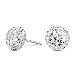 Simply Silver - Sterling silver pave crystal stud earring