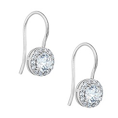 Simply Silver - Sterling silver cubic zirconia halo drop earring