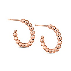 Simply Silver - Sterling silver rose gold beaded hoop earring