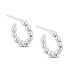 Simply Silver - Sterling silver beaded hoop earring