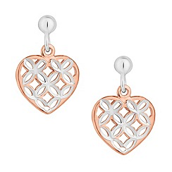 Simply Silver - Sterling silver two tone diamond cut heart earring